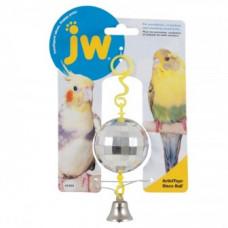 Игрушка д/птиц - Зеркальный шар с колокольчиком, пластик, Disco Ball Toy for birds