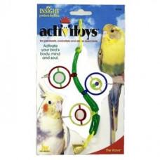 Игрушка д/птиц - Веточка с зеркальцами, бусинками и колокольчиком, Activitoys The Wave