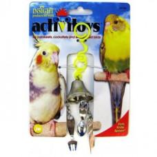 Игрушка д/птиц - Вилка, ножик, ложка на колокольчике, пластик, Fork, Knife, Spoon Toy for birds
