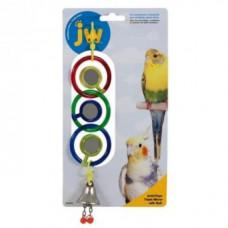 Игрушка д/птиц - 3 зеркальца с колокольчиком, пластик, Triple Mirror With Bell Toy for birds