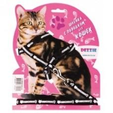 Dezzie Комплект черного цвета для кошек: шлейка + поводок