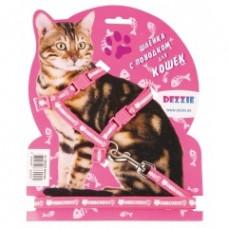 Dezzie Комплект красного цвета для кошек: шлейка 1*22-42см + поводок 1*120см