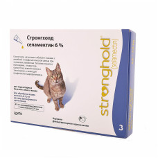 Стронгхолд капли от блох, ушных и чесоточных клещей, гельминтов для кошек, 3 пипетки (голубые)