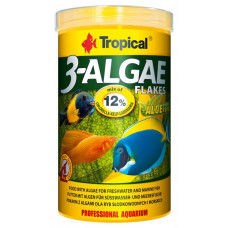 Tropical 3-Algae Flakes 1000мл/200гр - корм с водорослями для пресноводных и морских рыб (хлопья)