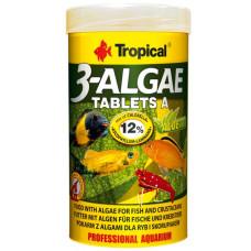 Tropical 3-Algae Tablets A 50мл/36гр/80таб. - корм с водорослями для пресноводных и морских рыб (таблетки)